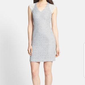 Rebecca Taylor Grey/White Tweed Lace Sheath Dress